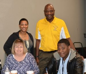 Laquise Bennett and David Ray of St. Anthony with Tracy Phillips & Brandon Senegal of Faith Family Academy